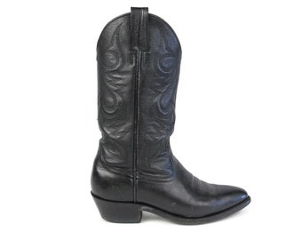 Womens Vintage Cowboy Boots Black Leather Cowboy Boots Pull On Justin Boots Country Western Boots Stitching Mid Calf Boots Size 6.5 E40