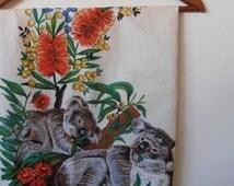 koala...vintage souvenir linen tablecloth
