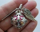 1 Wish box pendant fuchsia antique silver tone M221