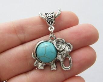 1 Pendant imitation turquoise elephant NB19