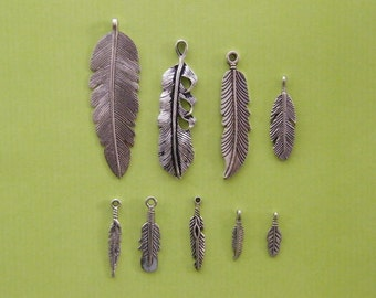 The Feather Collection - 9 antique silver tone charms