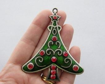 1 Christmas tree pendant 79 x 66mm tibetan silver - red