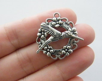 4 Humming bird toggle clasps antique silver tone FS89
