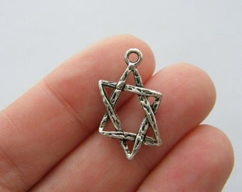 8 Star of David charms antique silver tone R82