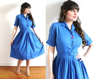50s Dress / 1950s Dress / 50s Blue Full Skirt Shirtwaist Dress