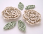 "Beige 1-3/4"" Crochet Rose Flower Embellishments w/ Leaves Handmade Scrapbooking Fashion Accessories Appliques - 6 pcs. (3160-02L)"