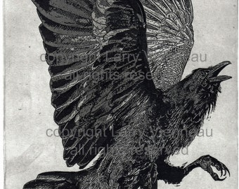 Raven artwork , Raven, crow, Three Legged Crow, etching 8 inch x 10 inch 2016