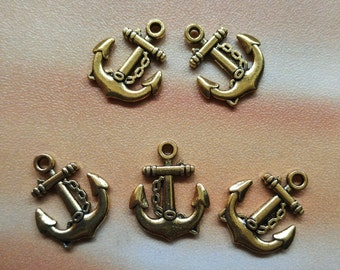 5 pcs 19mm Antique Bronze  Anchor Charms - Hollow Carved Charm, Metal Anchor Charm, Jewelry Making Findings Craft Supplies