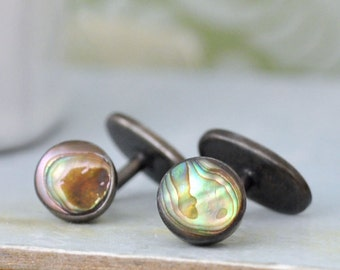 vintage find sterling silver cufflinks, natural shell cuff links for women, abalone shell cuff, silver cuff, vintage cuff, gift for women