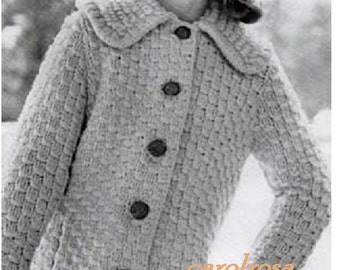 Knitting PATTERN - Ladies/Womens Coat Chunky Style Car Coat - Sizes 10-12, 14-16 and 18-20 Plus sizes download