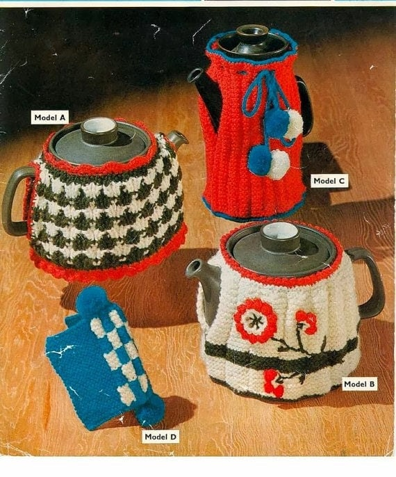 Coffee Pot Cosy Knitting Pattern : KNITTING PATTERN Tea Cozies 3 designs and Coffee Pot Cosy