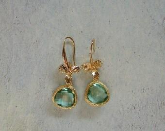 Green/Gold Orchid Drop Earrings