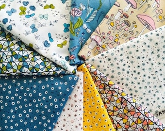 SuperBowl Sale Certified Organic Cotton fabric by Cloud9 and Sarah Watson, Arcadia - half yard bundle, 9 total