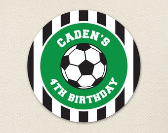 Soccer Party - Custom Stickers - Sheet of 12 or 24 - Choose green, red, blue or pink