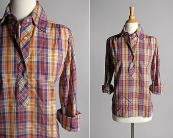 Vintage Fall Plaid Henley Blouse- Purple Red Yellow Small Plaid Top Shirt Long Sleeve Blouse Feminine Country- Size Medium or Large