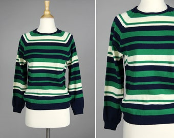FINAL SALE Vintage Kelly Green and Navy Striped Pull Over- Blue White 1970s Long Sleeve Crew neck Sweater- Size Medium M
