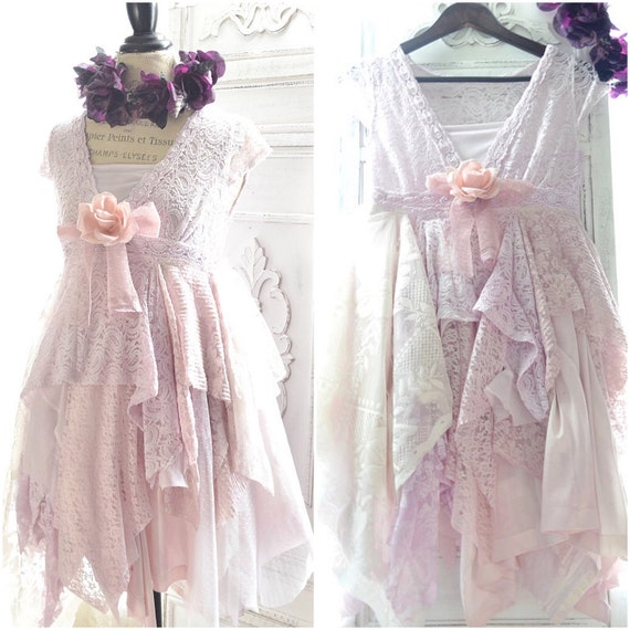 Pink Quartz Shabby Cottage chic lace dress, Parisian French country, Stevie Nicks style dress, Mori girl ruffle dress, True rebel clothing
