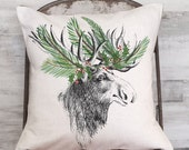 Christmas Pillow Cover Holiday Woodland Moose