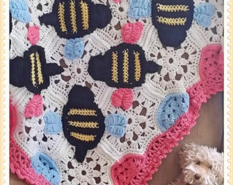 Bumble Bee Baby Afghan Crochet  PDF - INSTANT DOWNLOAD