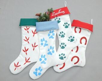 "PET CHRISTMAS STOCKING footprints 24"" (61cm) dog cat bird horse hand painted your color choice best friend animal companion © Crabby Chris"