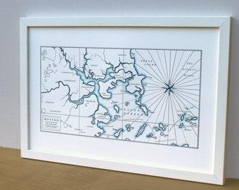 Historic Boston Harbor, Letterpress Printed Map (Navy)