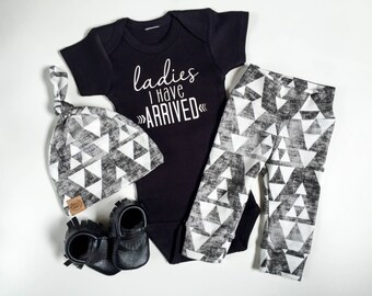 Ladies I have arrived | baby boy take home outfit | tribal print organic leggings |