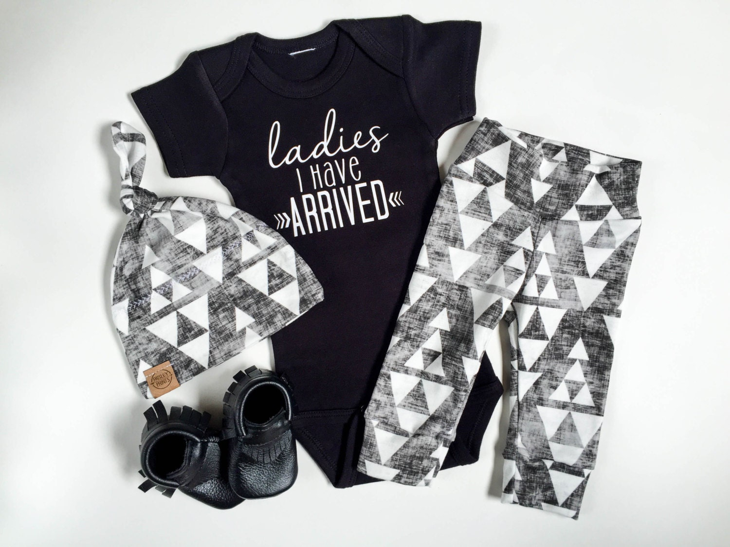 Ladies I have arrived baby boy take home outfit tribal