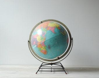 Vintage World Globe, 12 Inch Replogle Globe, Mid Century Modern Metal Base