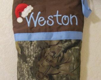 Mossy Oak Infinity camo stocking,  Camo Christmas stocking, camouflage Christmas stocking, Santa hat, choice of name Christmas decor