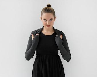 Shrug|Gray Bolero Shrug| Gray Shrug Bolero| Ballet Shrug| Fitted Bolero Shrug with Thumbholes| Womens yoga clothes| Best friend gift|
