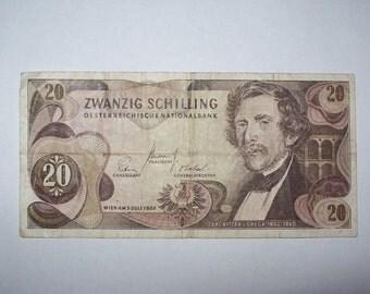 Austria 1967 20 Schilling Banknote Paper Money