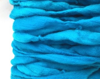 Thick and thin super bulky yarn in hand dyed merino wool - 50 yards and 3.1 ounces/ 90 grams