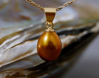 Arda - Unusual Bronze Freshwater Pearl Pendant Set in solid 14kt Gold, OOAK, Birthday, teens, women, gift idea for her, Prom