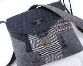 Crossbody bag, Crossbody Purse, Recycled Crossbody Purse, Handbag, Black Gray wool, iPhone pocket,Recycled mens suit coat