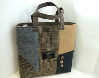 Large Womens Tote Bag, Large Purse, Travel Bag, Overniight Bag, Recycled fabric Purse, Over The Shoulder bag, Ready to Ship