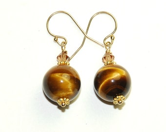 Tigers Eye Earrings - Tiger Eye - Short drop earrings - Brown and Gold - 14K Gold fill