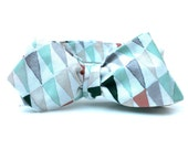 Men's Bow Tie - Tribal Print - Green Triangles - Green and Grey Diamond Point Bowtie - Freestyle - Adjustable - In Stock