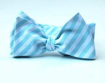 Men's Bow Tie - Aqua Stripe - Aqua Blue and White Striped BowTie for men - Adjustable - freestyle - butterfly