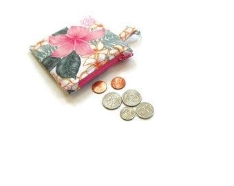 Zipper pouch, coin purse, key chain, coin pouch, change purse, bridesmaids gift, graduation or teacher gift, pink floral