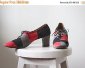 1960s Loafers with High Heels Loafers Lace Up Womens Lace Up Shoes Suede Shoes Color Block 1960s Shoes Womens Size 7 Euro 37.5