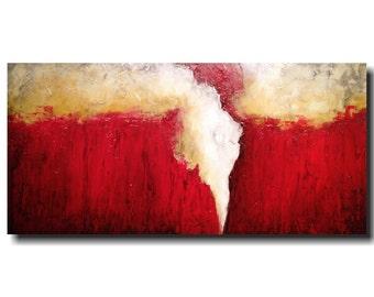 Original Large Abstract painting - 24 X 48  JMJartstudio-Speak Softly-Wall art-wall decor -red- painting-Oil painting-