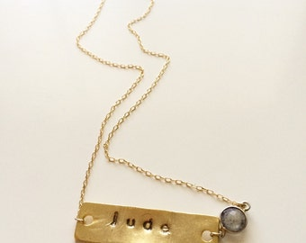 Hand stamped necklace with birthstone