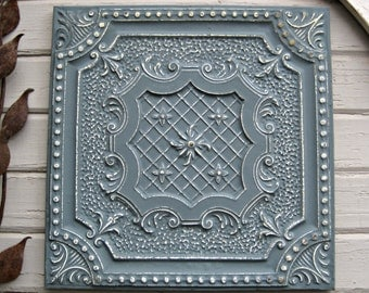 Vintage Ceiling Tile. 2'x2'  Antique architectural salvage. Circa 1910.  FRAMED & Ready to hang.  Metal wall decor.