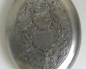 Flapper Vintage~ Fitch Brand Peacocks Victorian lady Silver Oval Compact Puff Mirrer