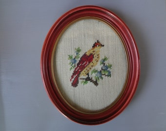 Vintage Needlepoint Pcture of a Bird in a Frame