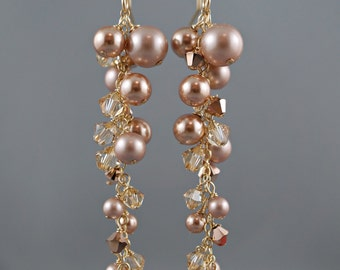 Rose Gold Pearl Cluster Earrings Bridal Crystal Pearl Jewelry Wedding Earrings Cascading Drop 14k Gold Filled Swarovski Champagne Crystals