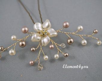 Pearl Rhinestone Floral Vine Bridal Hair Pin - Ivory Cream Champagne Swarovski Pearls Wedding Hair Pieces Accessories Bride Bridesmaid Gold