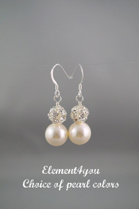 Bridal Vintage Pearl earrings. Bridesmaids Pearl and Rhinestone earrings. Bridal dangle Earrings. Swarovski ivory black white purple pearls