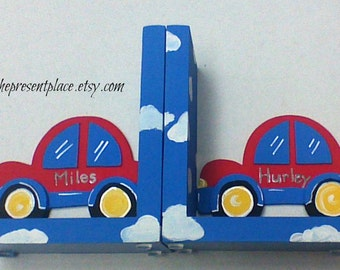 Bright red car bookend, hand painted,personalized,customized,car bookends,kids bookends,childrens bookends,boys bookends,red car,car decor