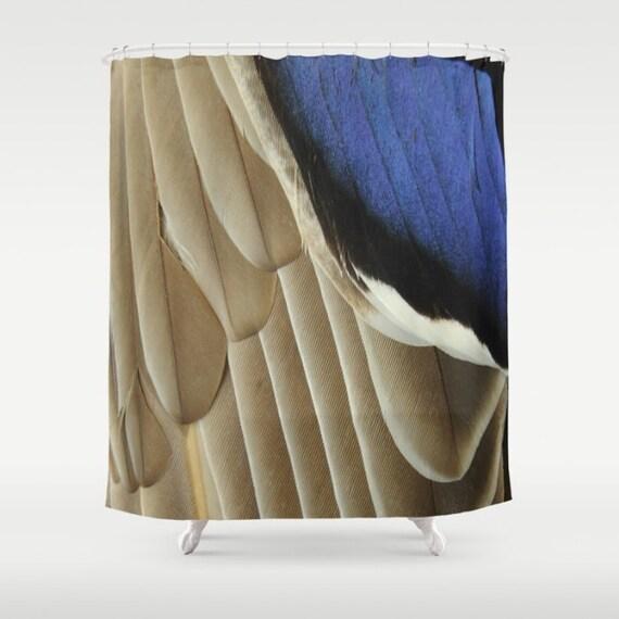 Mallard duck fabric shower curtain bird feather bird wing blue